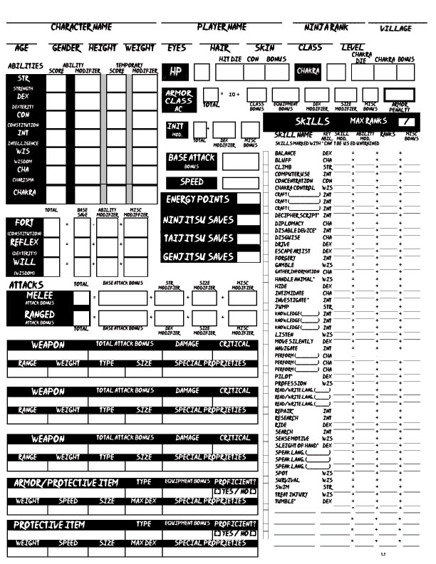 photo about 5e Character Sheet Printable titled Naruto D20 / Personality Sheets